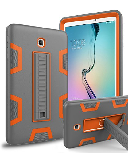 Galaxy Tab A 8.0 Case,TOPSKY[Kickstand Feature]Three Layer Hybrid Heavy Duty Full-Body Shockproof Anti-Slip Protective Case for Samsung Galaxy Tab A 8.0 inch(2015 Release)No Fit 2017,Grey/Orange
