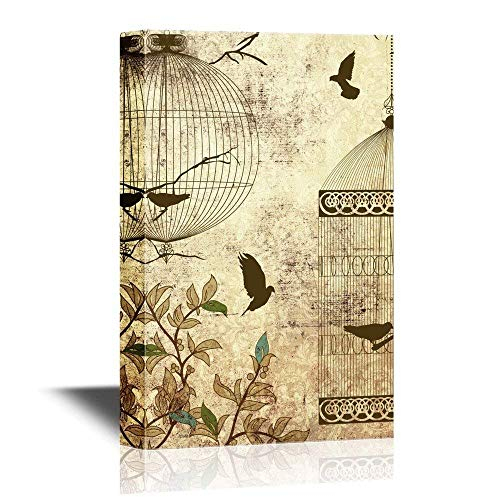 Birdcage Canvas - wall26 Canvas Wall Art - Flying Birds Wih Bird Cages on Vintage Background - Gallery Wrap Modern Home Decor | Ready to Hang No-Frame