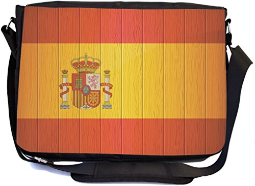 Rikki Knight Spain Flag on Distressed Wood Design Multifunctional Messenger Bag - School Bag - Laptop Bag - with Padded Insert for School or Work - Includes Matching Compact Mirror by Rikki Knight