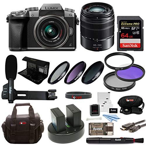 Panasonic LUMIX G7 Interchangeable Lens Camera (Silver) w/ 14-42mm & 45-150mm Lens & 64GB Accessory Bundle