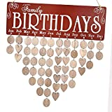 Favson Family Birthday Calendar Wooden Crafts Wall Hanging Plaque Board for Family Friends Birthday Reminder with 50 Pieces Wooden DIY Discs Hanging One by One