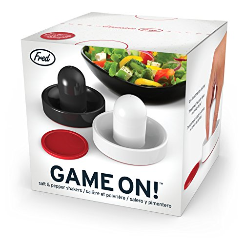 Get Fred & Friends GAME ON! Air Hockey Salt and Pepper Shakers dispense