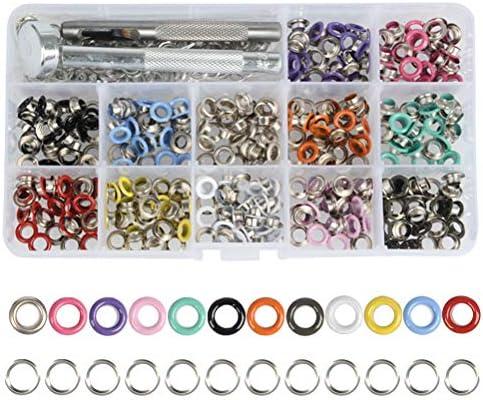 POKIENE Grommet Kit 360 Sets 316 Inch MultiColor Grommets Tool Metalen Oogjes Kit met Clear Opbergdoos voor Tas Schoen Kleding Leer Ambachten DIY 12 Kleuren