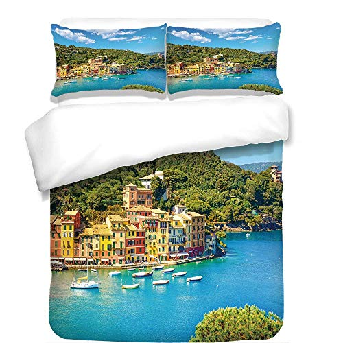 3Pcs Duvet Cover Set,Italy,Portofino Landmark Aerial Panoramic View Village and Yacht Little Bay Harbor Decorative,Blue Green Yellow,Best Bedding Gifts for Family/Friends ()