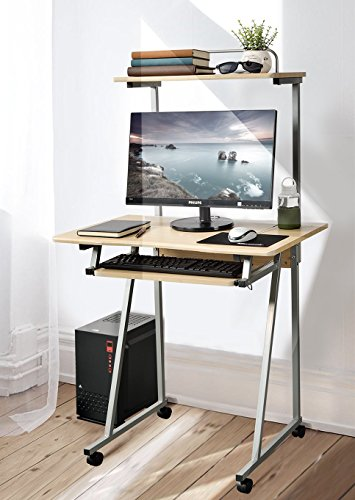 Aingoo Mobile Computer Desk Small Rolling Work Workstation With Printer  Shelf And Keyboard Space Beige By