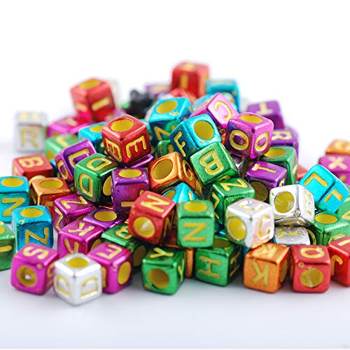 Hisenlee 600pcs/lot 6x6mm Black Letter Beads DIY Loose Alphabet Cube Beads for Teething Necklace and Pacifier Clip (07)