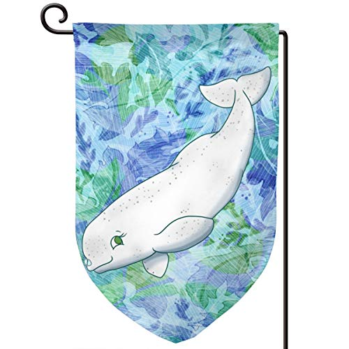 Xuforget Outdoor Garden Flags Beluga Whale Double-Sided Decorative Flags 12.5 X ()