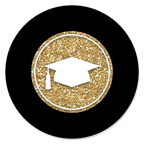 Big Dot of Happiness Gold Tassel Worth The Hassle - Graduation Party Circle Stickers - 24 Count ()