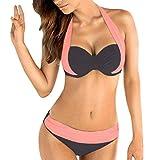 Fheaven Women Plus Size Swimwear Push up Padded Bra Bandeau Low Waist Bikini Halter Two Piece Swimsuit (L, Pink)