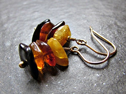 Natural Gold Nugget Ring (Baltic Amber Earrings- Sterling Silver or 14K Gold Filled- 1-3/8