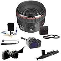 Canon EF 50mm f/1.2L USM Ultra-Fast AutoFocus LensUSA - Bundle with 72mm Filter Kit, Flex Lens Shade, FocusShifter DSLR Follow Focus & Rack Focus,LensPen Lens Cleaner, Cap Leash, Lens Cleaning Kit