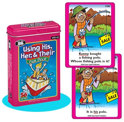 Super Duper Publications Using His, Her, & Their Fun Deck Flash Cards Educational Learning Resource for Children