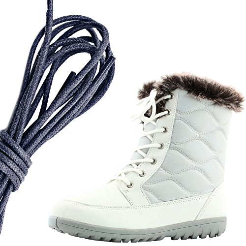 DailyShoes Womens Comfortable Round Toe Flat Ankle High Eskimo Winter Fur Snow Boots, Navy Ivory Pu