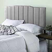 Zinus Upholstered Channel Stitched Headboard in Light Grey, Queen