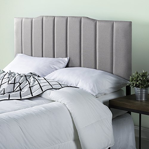 Zinus Upholstered Channel Stitched Headboard in Light Grey, Full