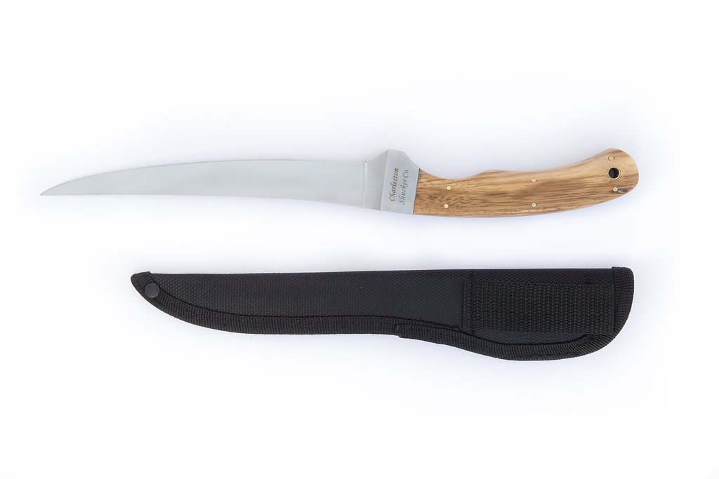 The 6'' Coastal Fish Fillet Knife made with a Stainless Steel in a satin finish blade and Zebrawood handle by The Charleston Shucker Company