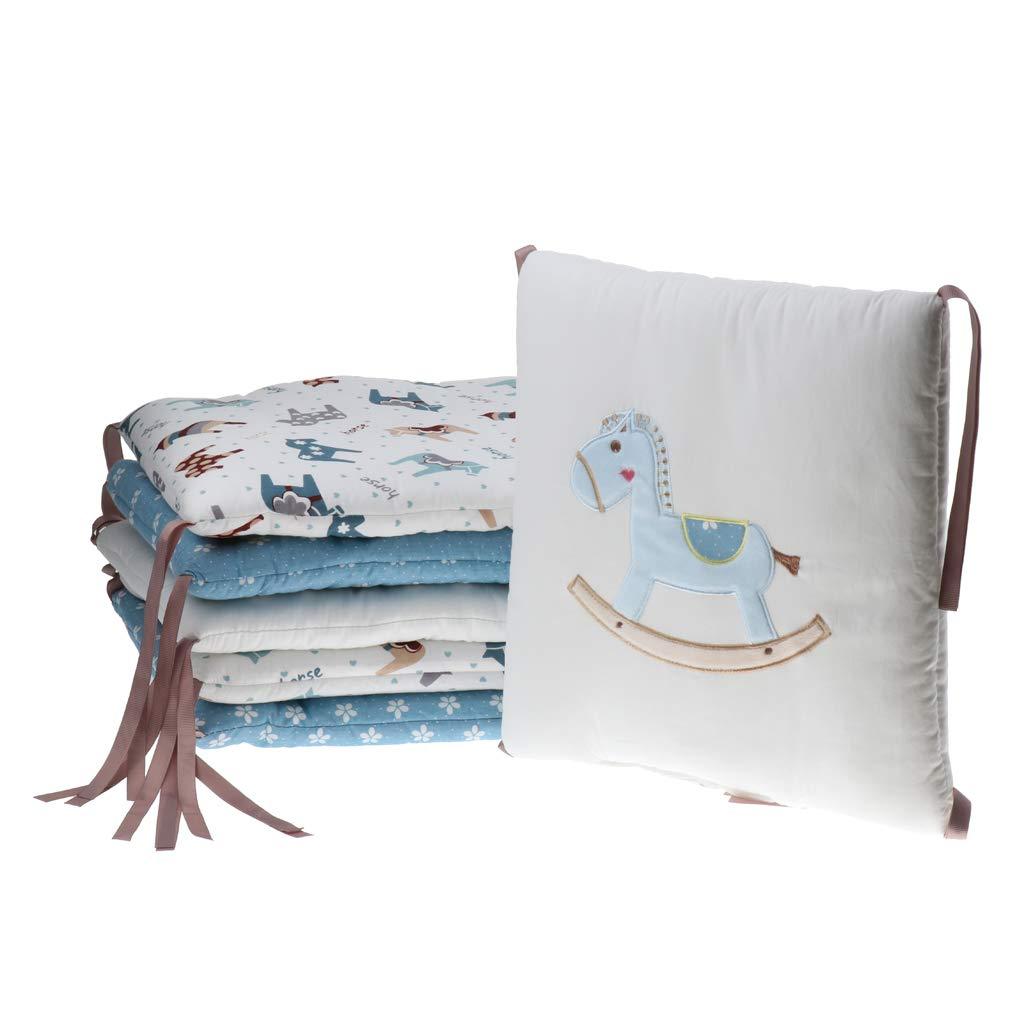 Fenteer 6PCS Baby Crib Bumper Breathable Comfy Cotton Infant Toddler Bed Cot Protector - Horse, as described