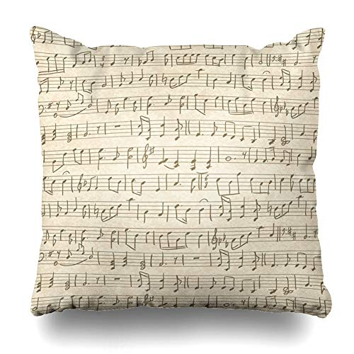 - DIYCow Throw Pillow Covers Sketching Sheet Vintage Handwritten Musical Music Quarter Note Pattern Old Sketch Handwriting Design Home Decor Pillowcase Square Size 20 x 20 Inches Zippered Cushion Case