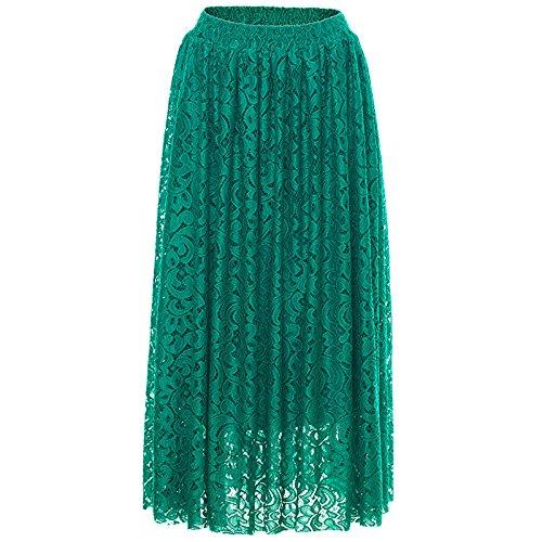 AVSUPPLY Jupe Longue Femme Chic en Dentelle Brode Trapze Plisse lgante Taille Haute Rtro Bohme Vert