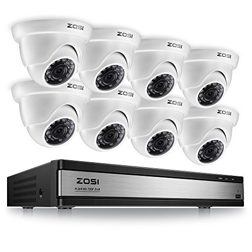 - ZOSI 720p 16 Channel Security Camera System,16 Channel Full HD DVR Recorder with 8 x 1280TVL(720p) Dome Camera Outdoor/Indoor,Motion Detection and Remote Access Easily,No Hard Drive