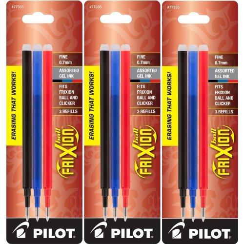 Pilot Gel Ink Refills for FriXion Erasable Gel Ink Pen, Fine Point, Assorted Ink, Pack of 9 (77335)