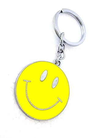 GCT Smiley Emoji Smiling Face Emoticon Metal Keychain for Car Bike Men Women  Keyring (Yellow)  Amazon.in  Bags ada0c0bc4