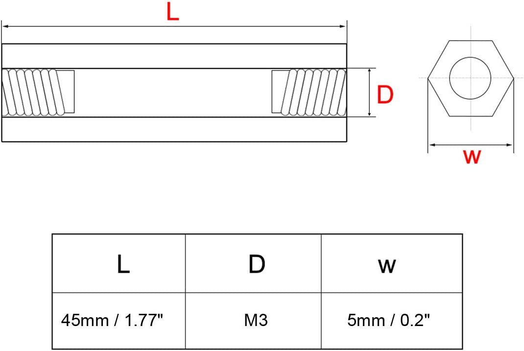 uxcell 20pcs Brass Straight PCB Pillar Female Thread Hex Standoff Spacer M3x5x45mm