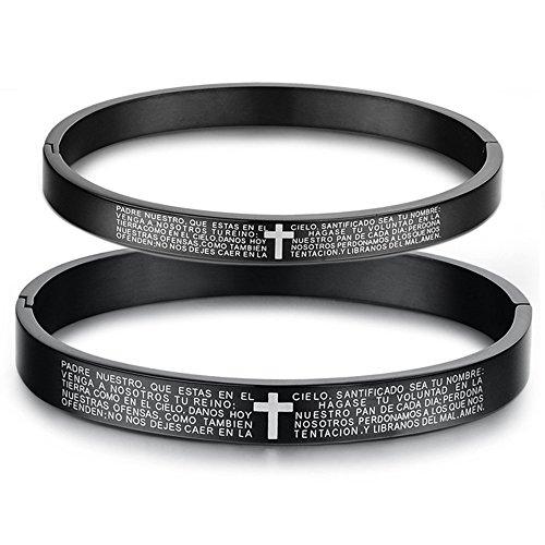 Men Women Titanium Stainless Steel Vintage Black Bangle Couple Spanish Bible Lords Prayer Cross Bracelet -