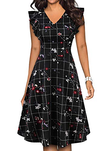 - BOKALY Women's Vintage Ruffles Floral Flared Swing A-Line Casual Party Dresses (M, BK521-Black Grid)