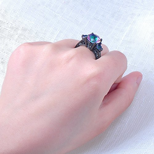 RongXing Jewelry New Mysterious Rainbow Topaz Ring,14KT Black Gold Wedding Rings Sz 7
