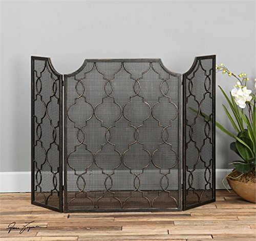 Ambient Heavily Antiqued Silver Champagne Fireplace Screens