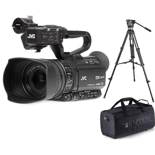 Jvc Camera Bag - JVC GY-HM250 12.4MP 4K UHD Camcorder with FHD Live Streaming, 12x Optical Zoom - with Sachtler 1001 3-Section Aluminum Tripod with Ace M Fluid Head Black - Sachtler Medium Camporter Camera Bag