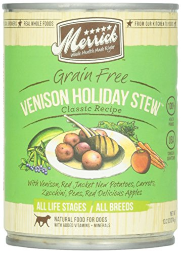 Merrick, Canned Dog Food, 5 Star Venison Holiday Stew, 13.2 oz.
