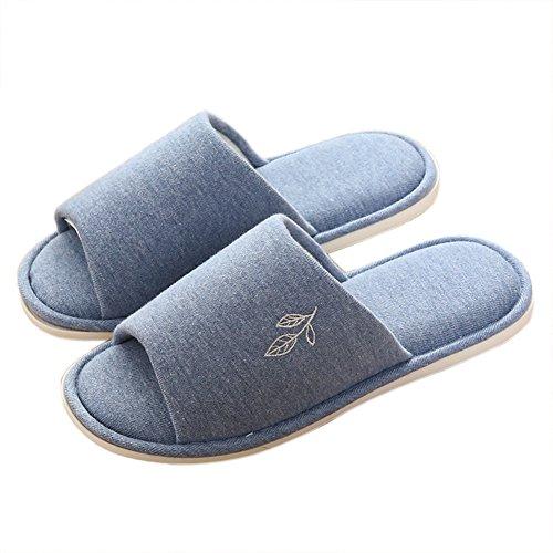 Vwu Unisex Donna Uomo Morbido Antiscivolo In Cotone Foglia Casa Coperta Pantofole Blu