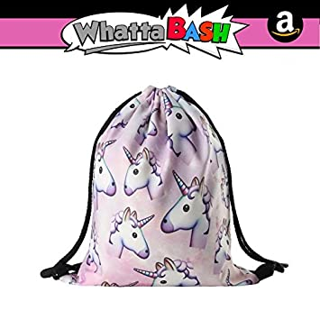 3D Print Unicorn Drawstring Backpack Gym Bag Pouch - Unicorn Theme Birthday Party Decorations...