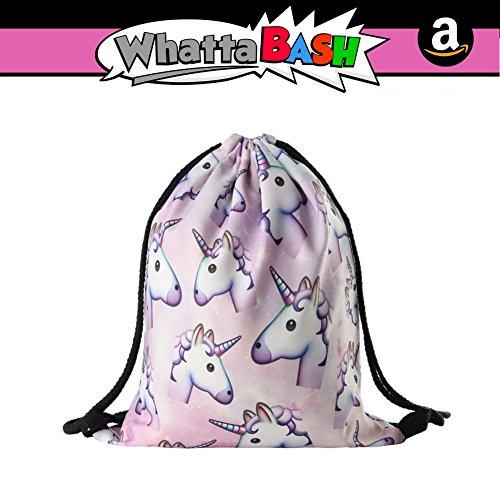 3D Print Unicorn Drawstring Backpack Gym Bag Pouch - Unicorn Theme Birthday Party Decorations Favors Kit Supplies Accessories Gift for Kids Girls - Gift Decoracion De Unicornio para Cumpleaños Fiesta