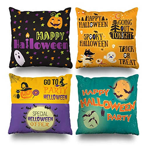 Set of 4 Decorativepillows Case Throw Pillows Covers for Couch/Bed 18 x 18 inch, Halloween Banners Stickers Cartoon Cute Pumpkins Home Sofa Cushion Cover Pillowcase Gift Bed Living Home