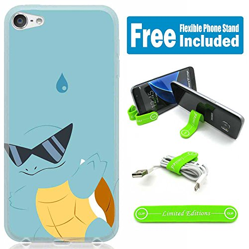 [Ashely Cases] Apple iPod Touch 5th/6th Generation Cover Case Skin with Flexible Phone Stand - Pokemon Squirtle - Sunglasses Squirtle With