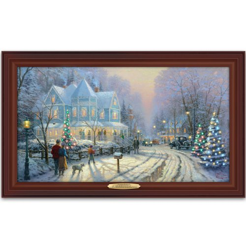 thomas kinkade authentic canvas print a holiday gathering by the bradford exchange
