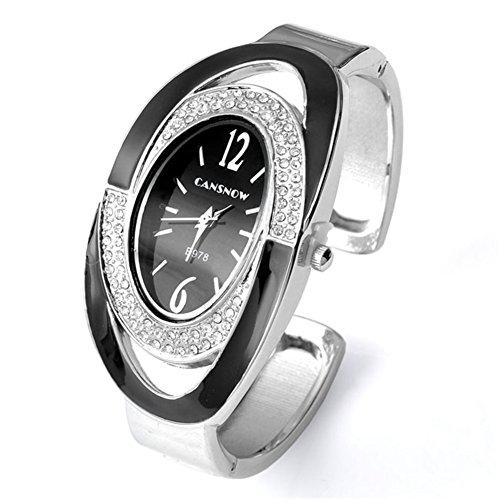 JSDDE Uhren,Elegant Damen Strassstein Oval Nebelfleck Spangenuhr Armbanduhr Analog Quarzuhr,Schwarz