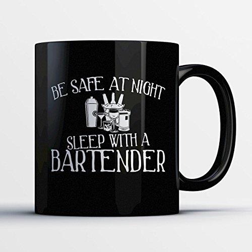 Boston George Halloween Costume - Bartender Coffee Mug – Be Safe At Night Sleep With A Bartender - Funny 11 oz Black Ceramic Tea Cup - Humorous and Cute Bartender Gifts with Bartender Sayings