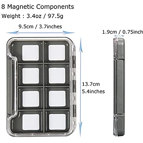AnglerDream Fly Fishing Box Plastic Magnetic Box Slit Form 4 / 8 /12 Magnetic Components Slim Box Transparent Lid Fly - 12 Compartment Fly Box