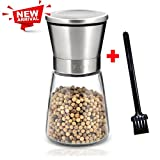 Pepper Mill Salt Grinder, Stainless Steel Surface Pepper or Salt Mill with Adjustable Coarseness & Cleaning Brush by F-Q-T (1 piece)