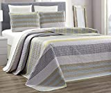 Grand Linen 3-Piece Fine Printed 100% Cotton Chic Quilt Set Reversible Bedspread Coverlet King/Cal King Size Bed Cover (Grey, Yellow Stripe)