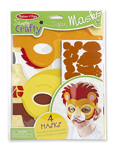 Melissa & Doug Simply Crafty Safari Mask Kit (Makes 4 (Crafty Kit)