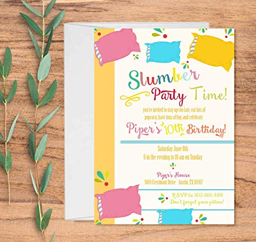 Set of 10 Invitations for Sleepovers with Envelopes, Slumber Party Invitations