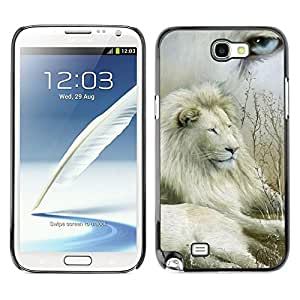 Design for Girls Plastic Cover Case FOR Samsung Note 2 N7100 Lion Collage Nature White Eye King Africa OBBA