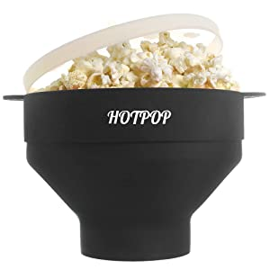 The Original HOTPOP Microwave Popcorn Popper, Silicone Popcorn Maker, Collapsible Bowl BPA Free & Dishwasher Safe (Black)