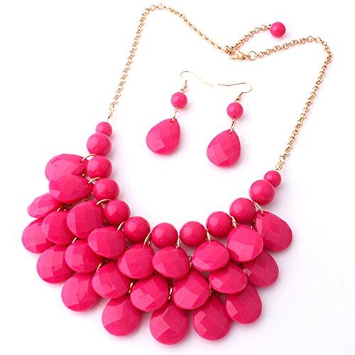 "UPC 702458837800, Easykan Women's Alloy Chain Acrylic Chunky Statement Bib Necklace Earrings Set (Rose) 18"""