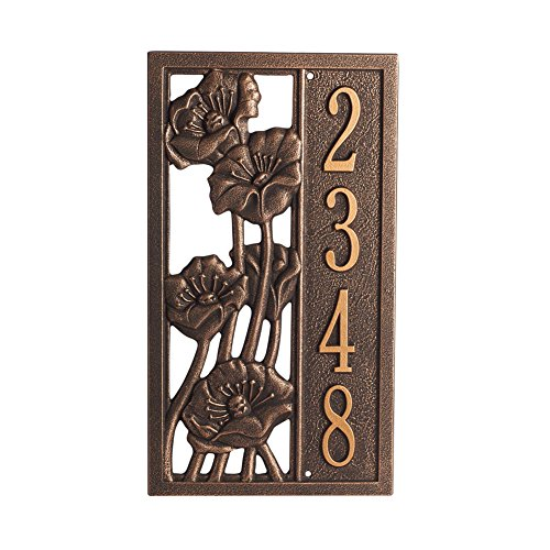 (Whitehall Personalized Poppies Flower Custom Aluminum Outdoor Address Plaque - Bronze and Gold)